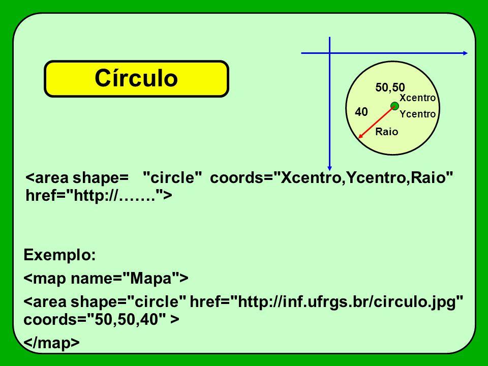 Círculo Xcentro Ycentro Exemplo: 40 50,50 Raio
