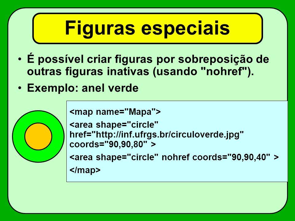 Figuras especiais É possível criar figuras por sobreposição de outras figuras inativas (usando