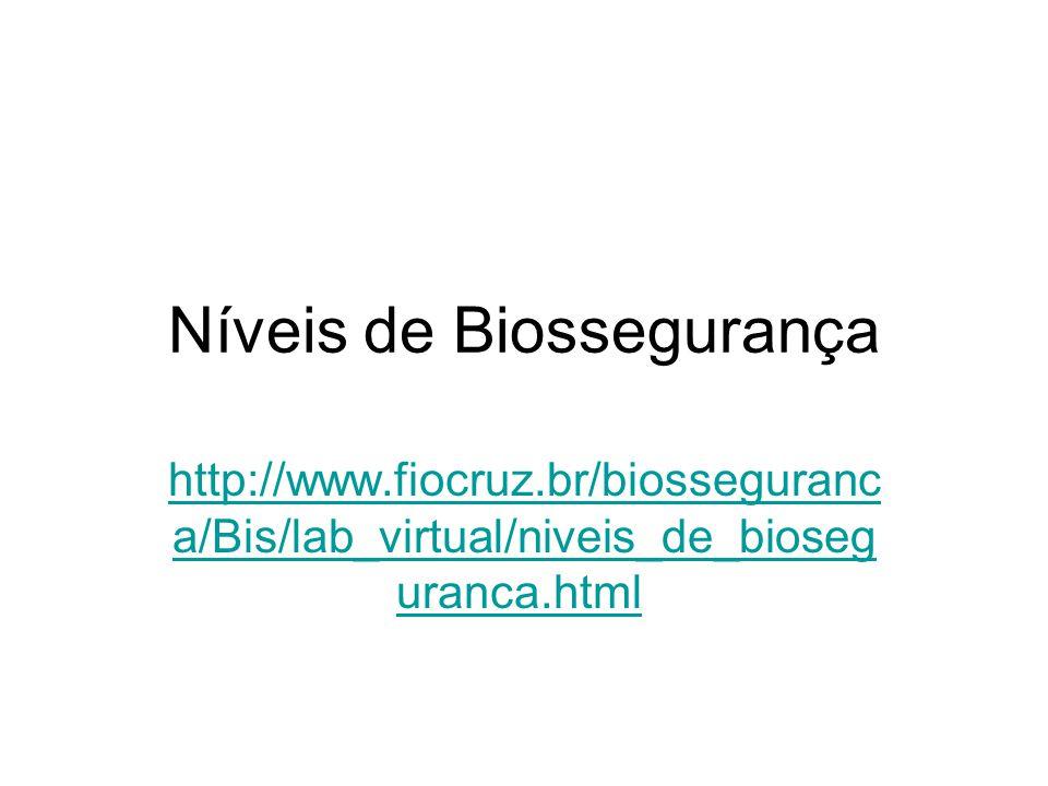 Níveis de Biossegurança http://www.fiocruz.br/biosseguranc a/Bis/lab_virtual/niveis_de_bioseg uranca.htmlhttp://www.fiocruz.br/biosseguranc a/Bis/lab_
