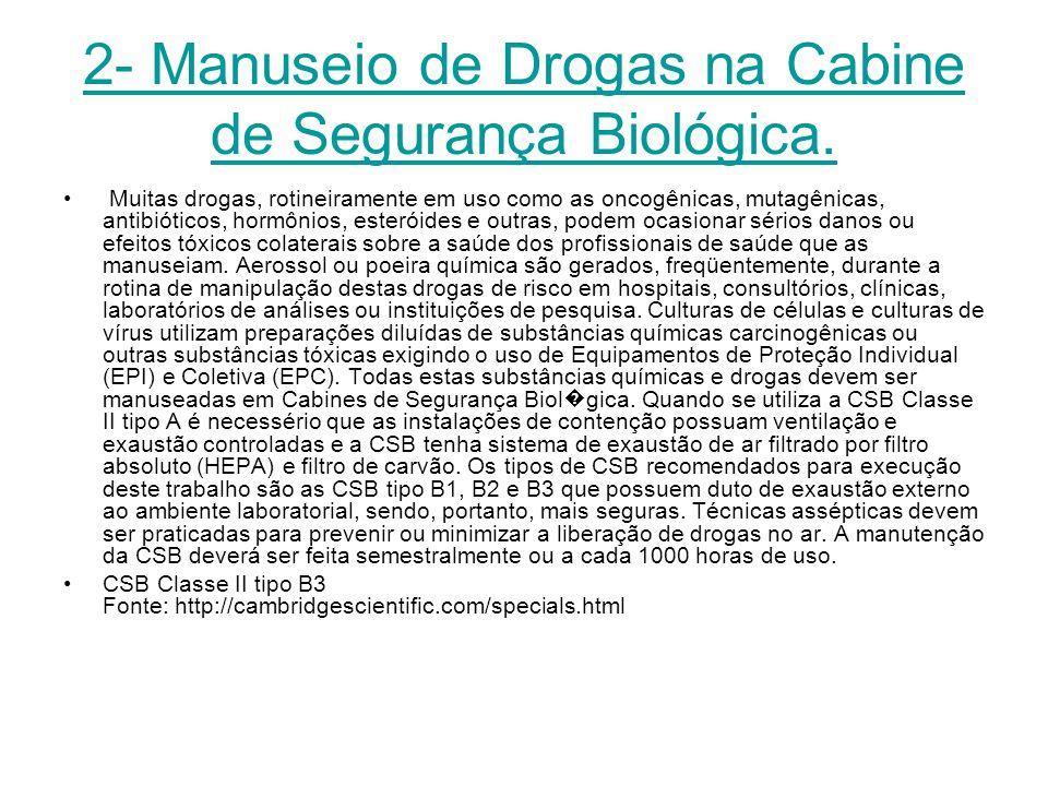 2- Manuseio de Drogas na Cabine de Segurança Biológica. Muitas drogas, rotineiramente em uso como as oncogênicas, mutagênicas, antibióticos, hormônios