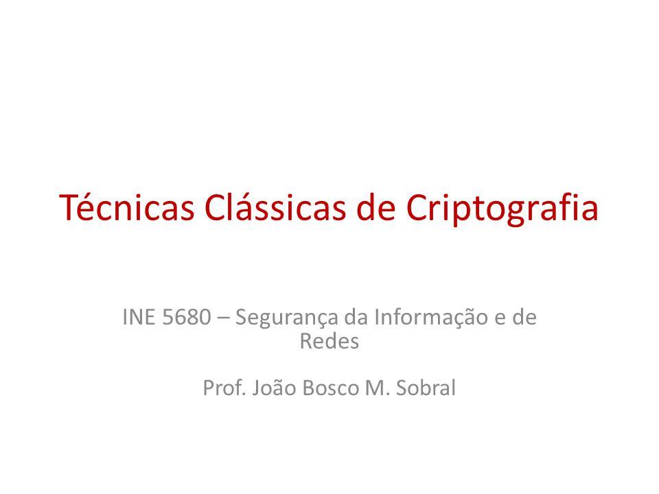 Técnicas Clássicas de Criptografia INE 5680 – Segurança da Informação e de Redes Prof.