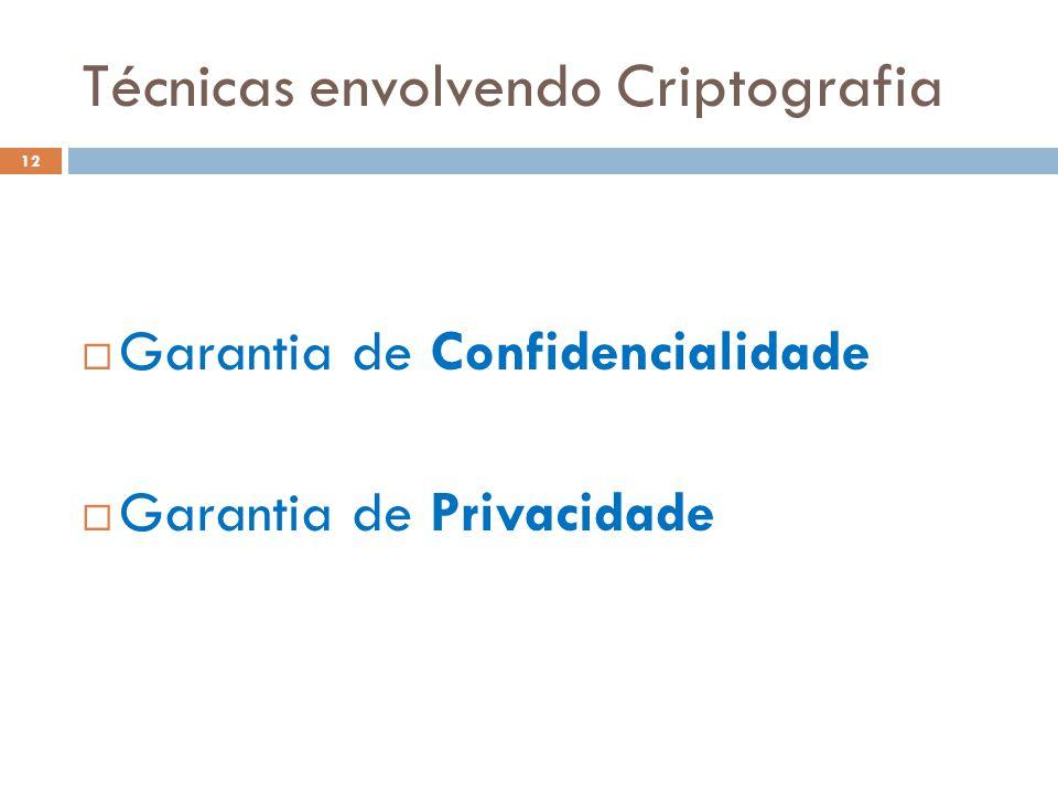 Técnicas envolvendo Criptografia 12  Garantia de Confidencialidade  Garantia de Privacidade