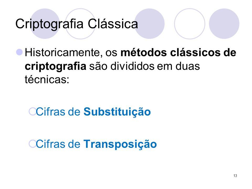 Criptografia Clássica Historicamente, os métodos clássicos de criptografia são divididos em duas técnicas:  Cifras de Substituição  Cifras de Transposição 13