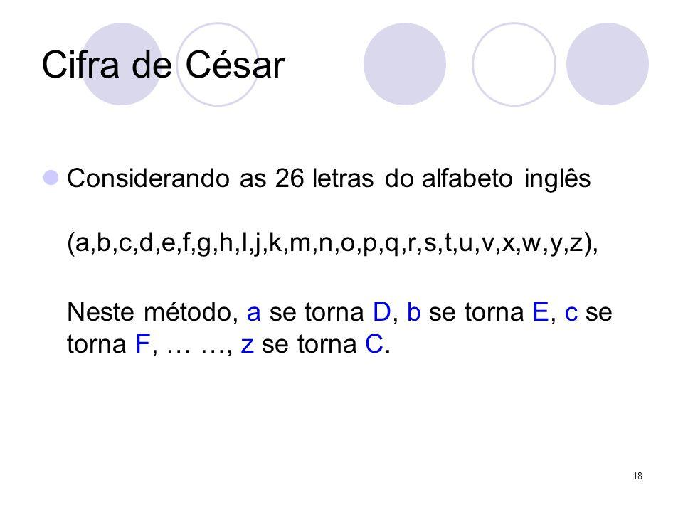 Cifra de César Considerando as 26 letras do alfabeto inglês (a,b,c,d,e,f,g,h,I,j,k,m,n,o,p,q,r,s,t,u,v,x,w,y,z), Neste método, a se torna D, b se torna E, c se torna F, … …, z se torna C.