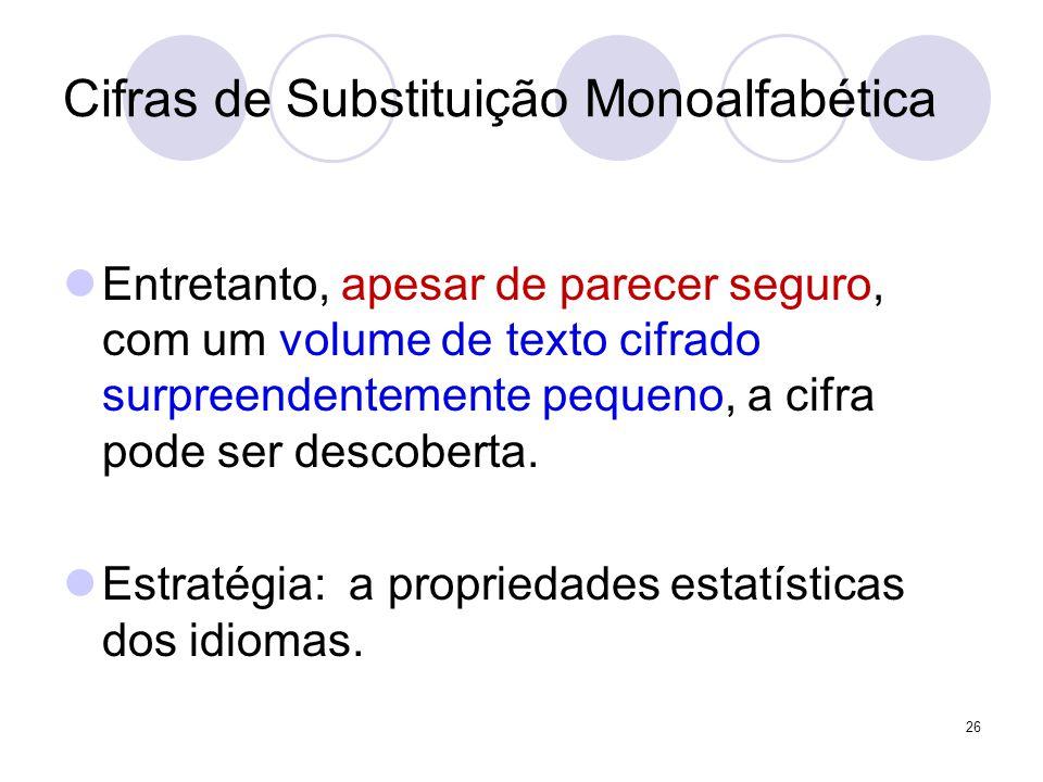Cifras de Substituição Monoalfabética Entretanto, apesar de parecer seguro, com um volume de texto cifrado surpreendentemente pequeno, a cifra pode ser descoberta.