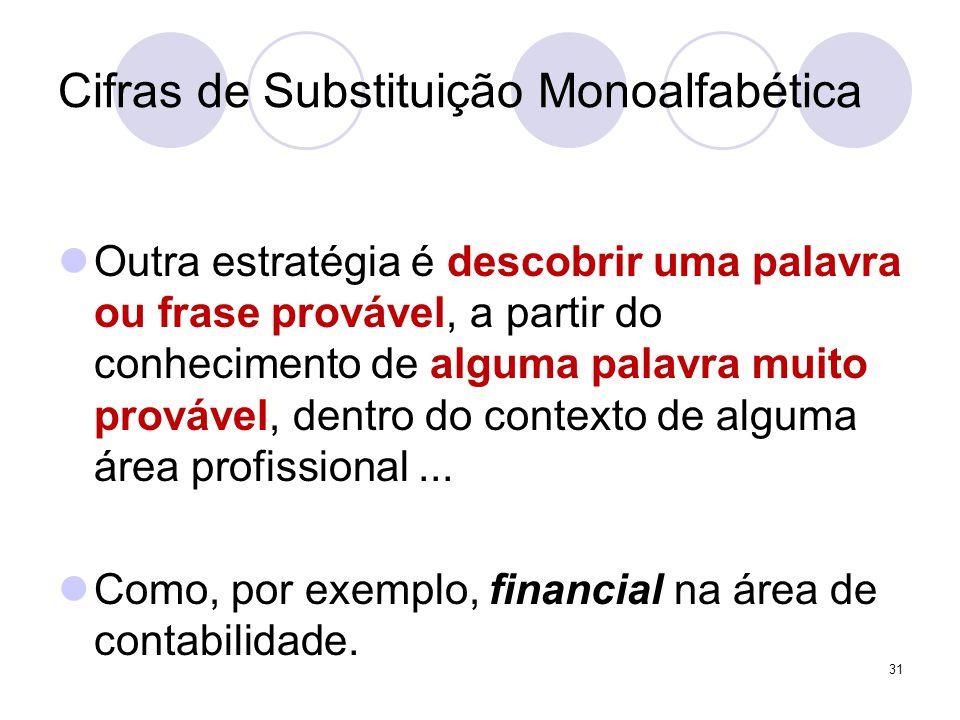 Cifras de Substituição Monoalfabética Outra estratégia é descobrir uma palavra ou frase provável, a partir do conhecimento de alguma palavra muito provável, dentro do contexto de alguma área profissional...