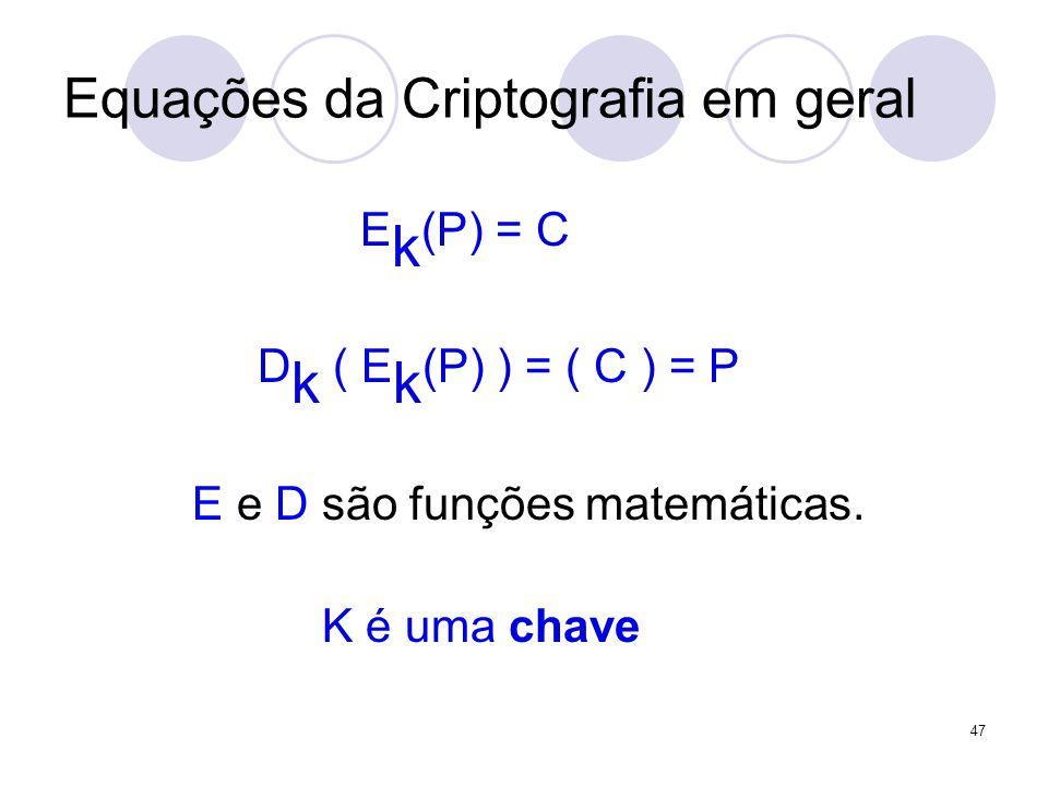Equações da Criptografia em geral E k (P) = C D k ( E k (P) ) = ( C ) = P E e D são funções matemáticas.