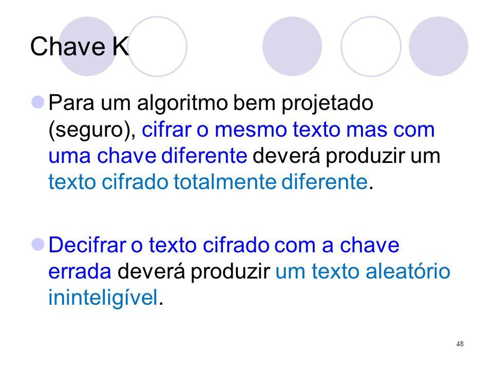 Chave K Para um algoritmo bem projetado (seguro), cifrar o mesmo texto mas com uma chave diferente deverá produzir um texto cifrado totalmente diferente.