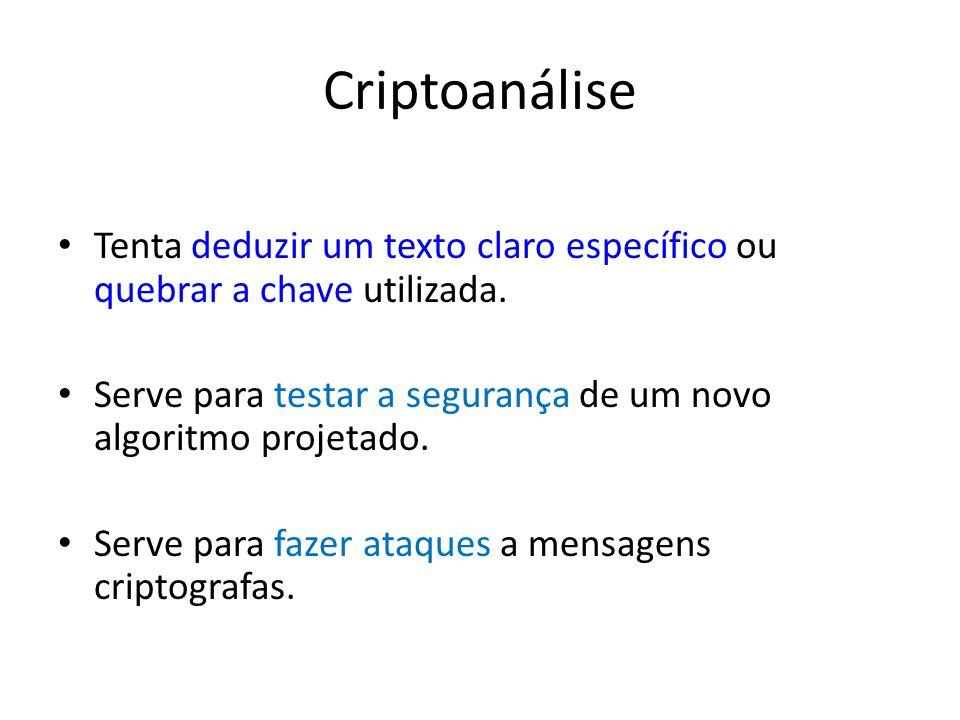 Criptoanálise Tenta deduzir um texto claro específico ou quebrar a chave utilizada.