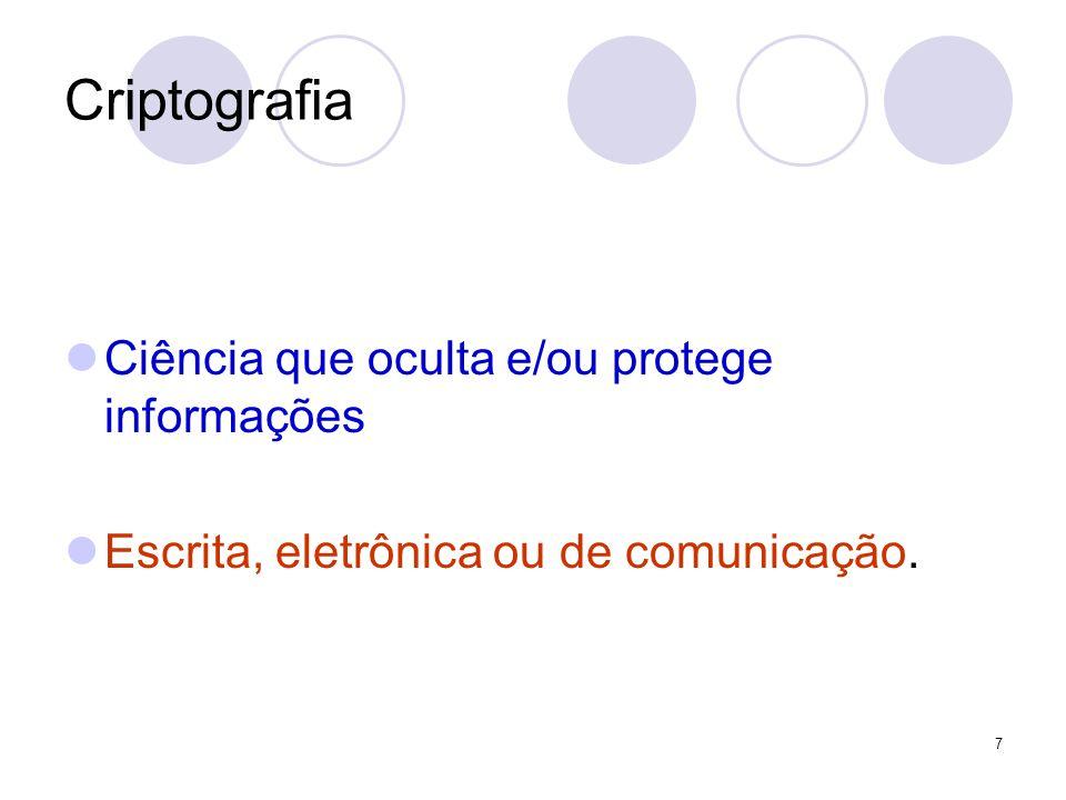 Criptografia Ciência que oculta e/ou protege informações Escrita, eletrônica ou de comunicação. 7