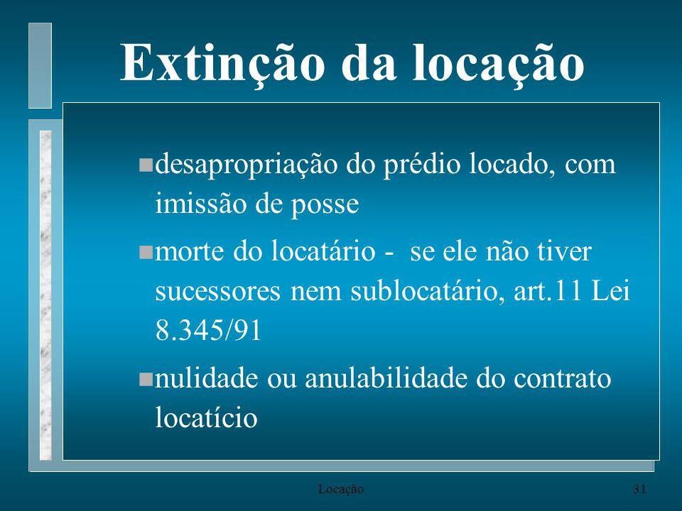 Locação31 Extinção da locação n desapropriação do prédio locado, com imissão de posse n morte do locatário - se ele não tiver sucessores nem sublocatá