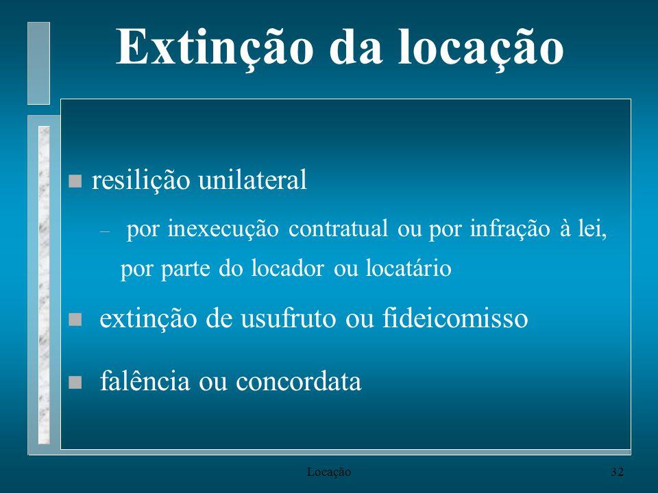 Locação32 Extinção da locação n resilição unilateral – por inexecução contratual ou por infração à lei, por parte do locador ou locatário n extinção d