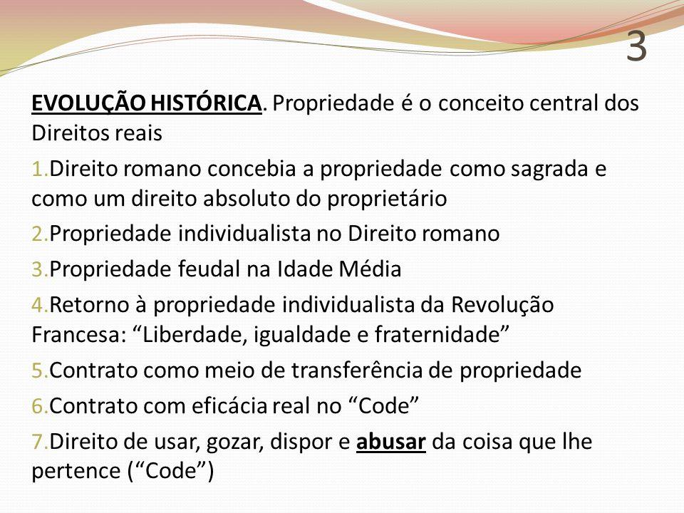 3 EVOLUÇÃO HISTÓRICA.Propriedade é o conceito central dos Direitos reais 1.