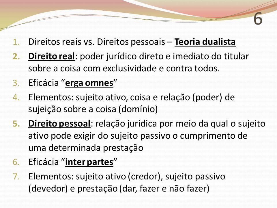 6 1.Direitos reais vs. Direitos pessoais – Teoria dualista 2.
