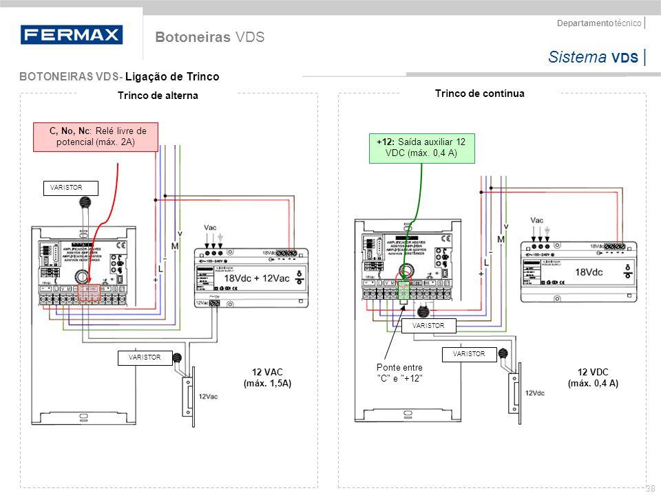 Sistema VDS   Departamento técnico   38 BOTONEIRAS VDS- Ligação de Trinco Botoneiras VDS Trinco de alterna Trinco de contínua C, No, Nc: Relé livre de