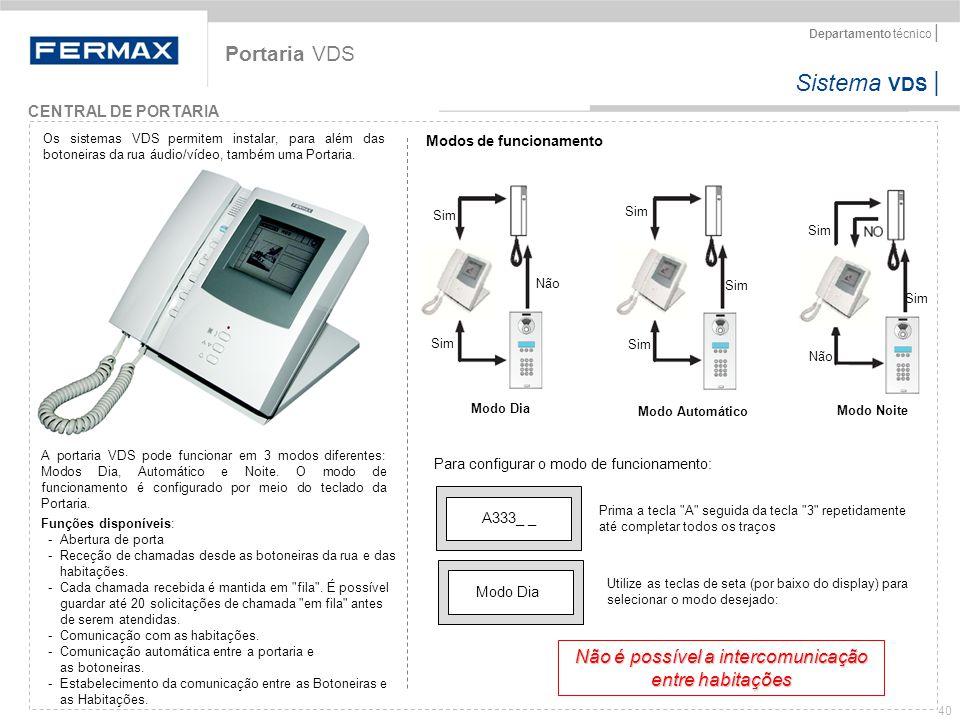 Sistema VDS   Departamento técnico   40 Portaria VDS Funções disponíveis: - Abertura de porta - Receção de chamadas desde as botoneiras da rua e das h