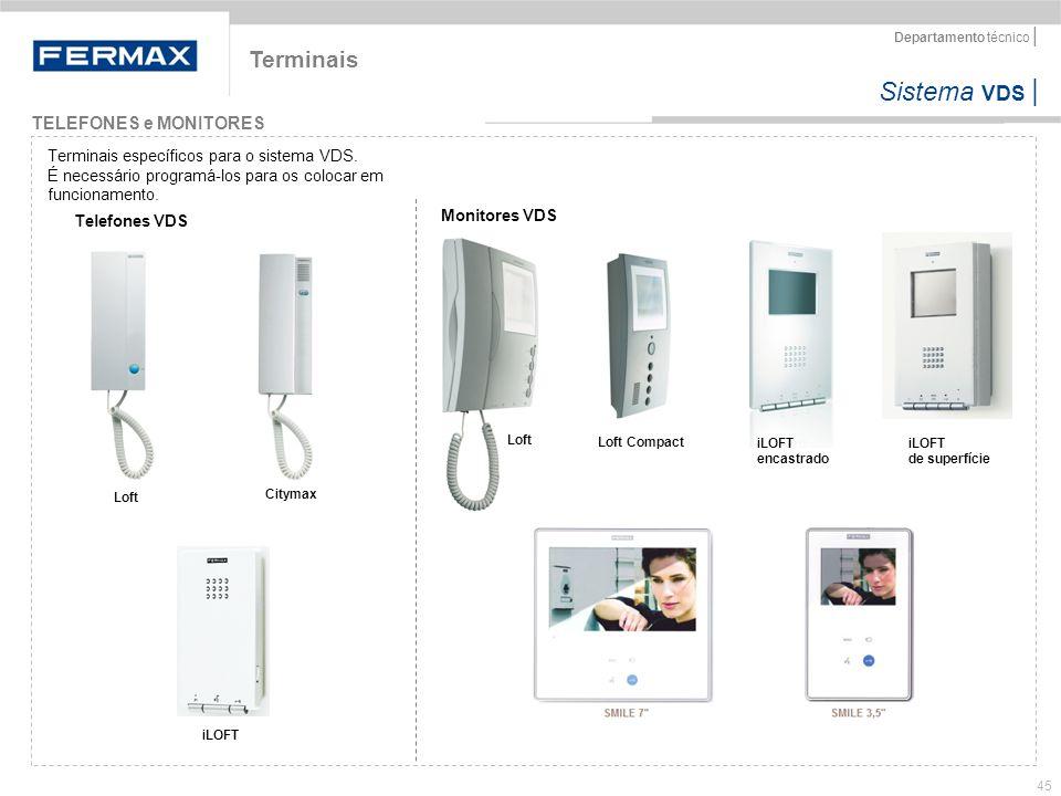 Sistema VDS   Departamento técnico   45 Terminais TELEFONES e MONITORES Terminais específicos para o sistema VDS. É necessário programá-los para os co