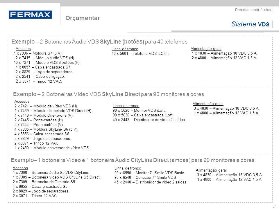 Sistema VDS   Departamento técnico   54 Orçamentar Exemplo – 2 Botoneiras Áudio VDS SkyLine (botões) para 40 telefones Exemplo – 2 Botoneiras Vídeo VD