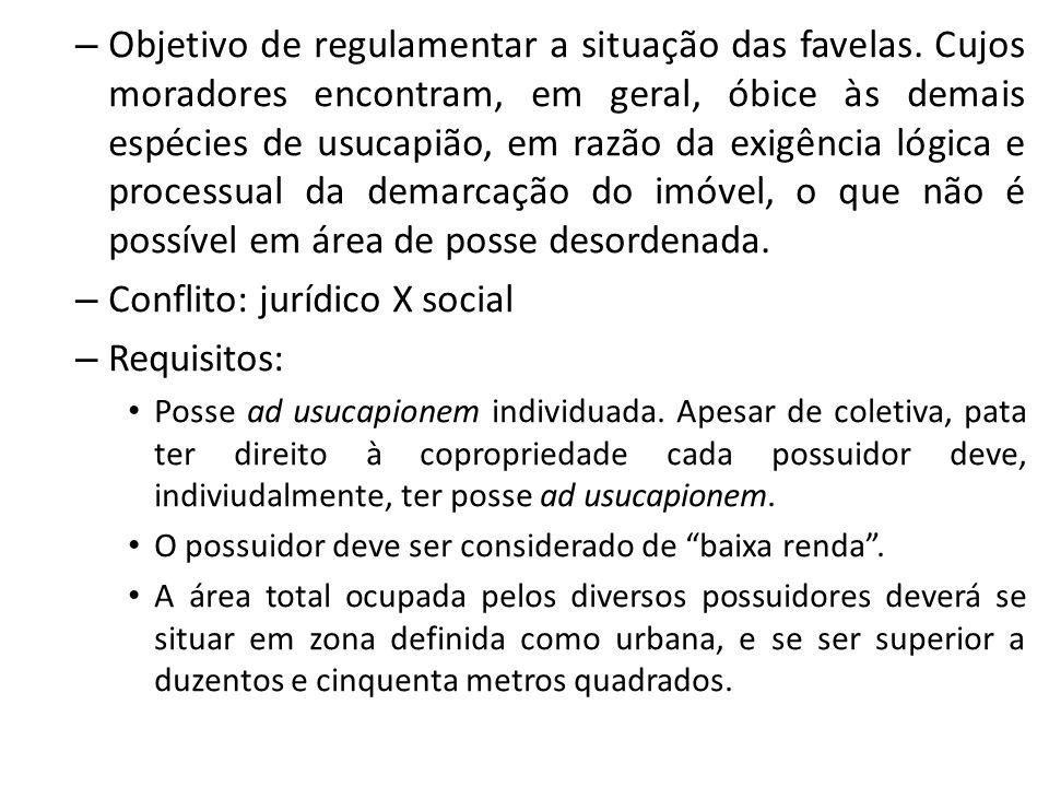 – Objetivo de regulamentar a situação das favelas.