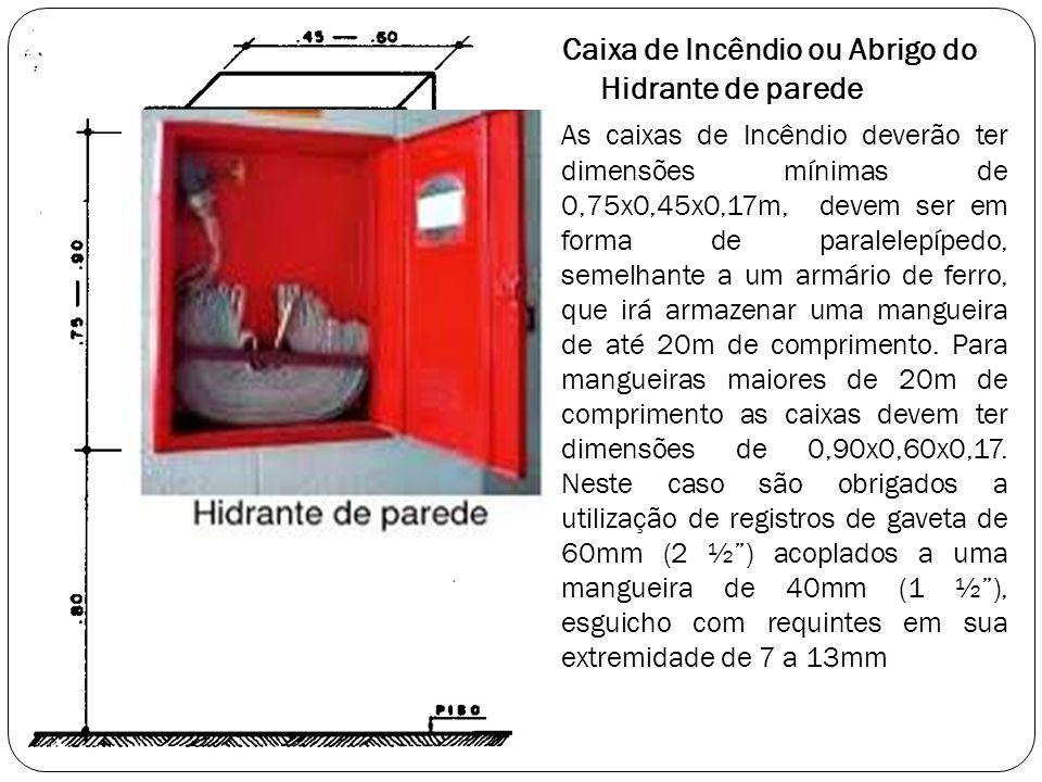 Caixa de Incêndio ou Abrigo do Hidrante de parede As caixas de Incêndio deverão ter dimensões mínimas de 0,75x0,45x0,17m, devem ser em forma de parale