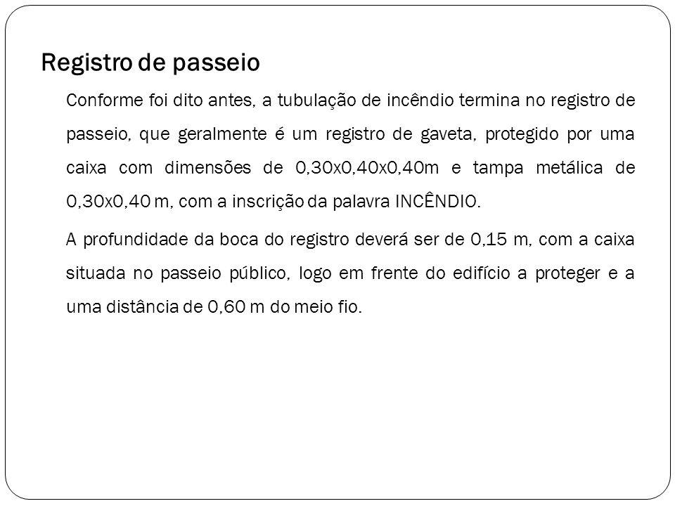 Registro de passeio Conforme foi dito antes, a tubulação de incêndio termina no registro de passeio, que geralmente é um registro de gaveta, protegido