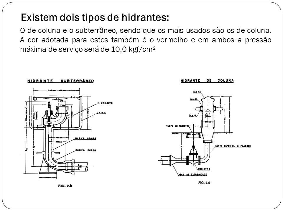 Existem dois tipos de hidrantes: O de coluna e o subterrâneo, sendo que os mais usados são os de coluna. A cor adotada para estes também é o vermelho