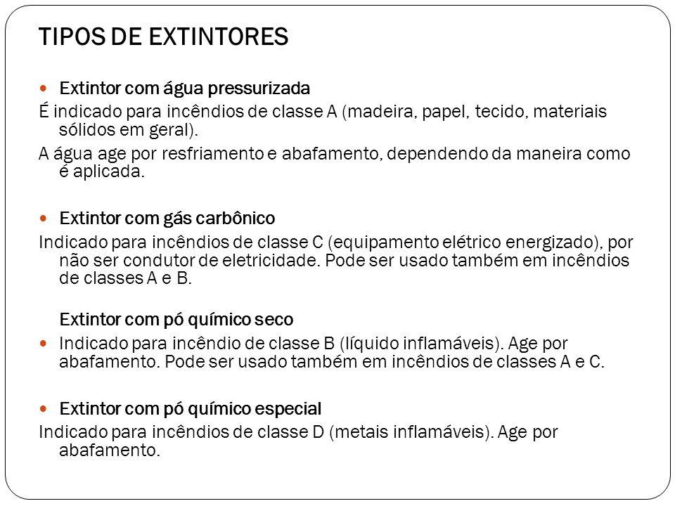 TIPOS DE EXTINTORES Extintor com água pressurizada É indicado para incêndios de classe A (madeira, papel, tecido, materiais sólidos em geral). A água