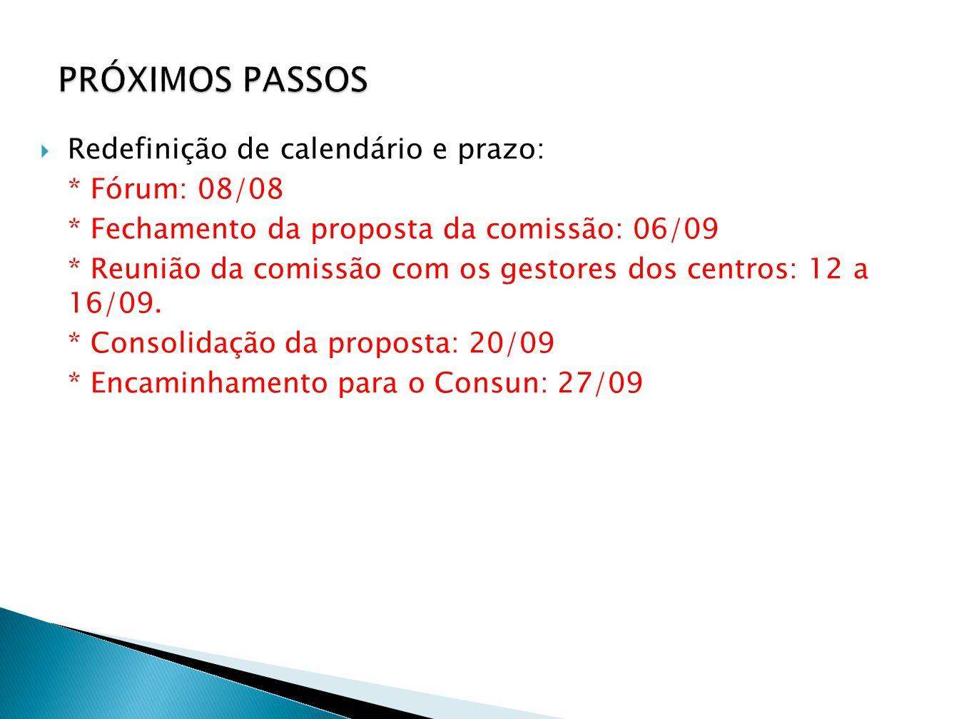  Redefinição de calendário e prazo: * Fórum: 08/08 * Fechamento da proposta da comissão: 06/09 * Reunião da comissão com os gestores dos centros: 12