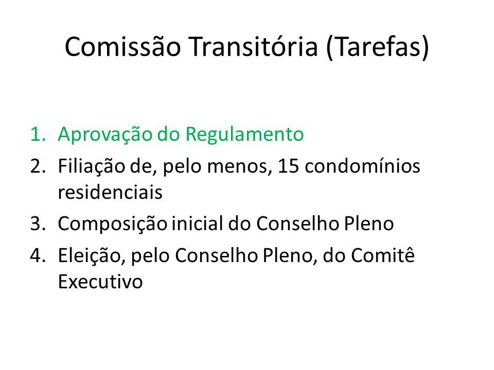 Comissão Transitória (Tarefas) 1.Aprovação do Regulamento 2.Filiação de, pelo menos, 15 condomínios residenciais 3.Composição inicial do Conselho Pleno 4.Eleição, pelo Conselho Pleno, do Comitê Executivo