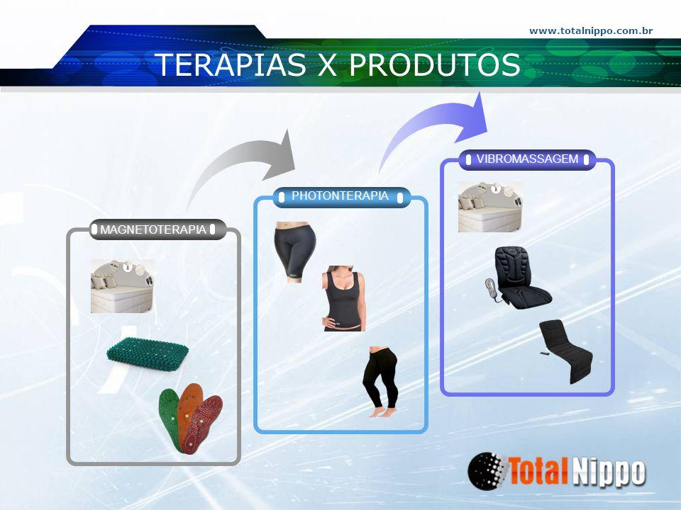 www.totalnippo.com.br TERAPIAS X PRODUTOS PHOTONTERAPIA VIBROMASSAGEM MAGNETOTERAPIA
