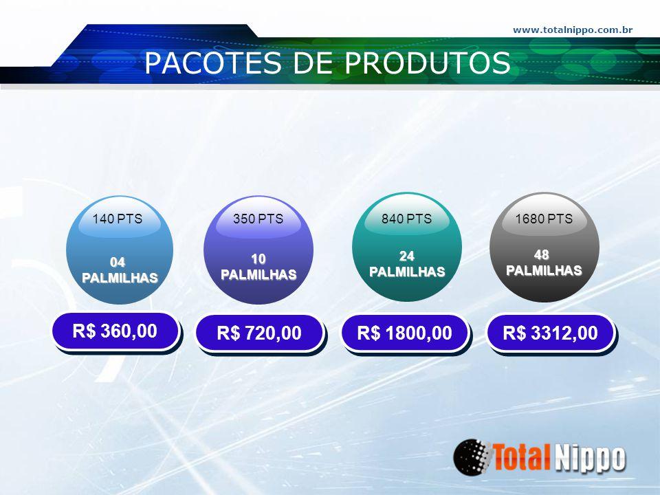 www.totalnippo.com.br PACOTES DE PRODUTOS 04PALMILHAS 10 PALMILHAS 24 PALMILHAS 48PALMILHAS 140 PTS 350 PTS 840 PTS1680 PTS R$ 360,00 R$ 720,00 R$ 180
