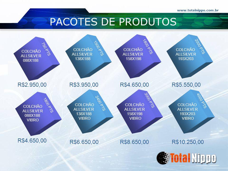 www.totalnippo.com.br PACOTES DE PRODUTOS 200 PTS 350 PTS 450 PTS 60 PTS R$ 495,00 R$ 290,00 R$ 1950,00 R$ 1500,00