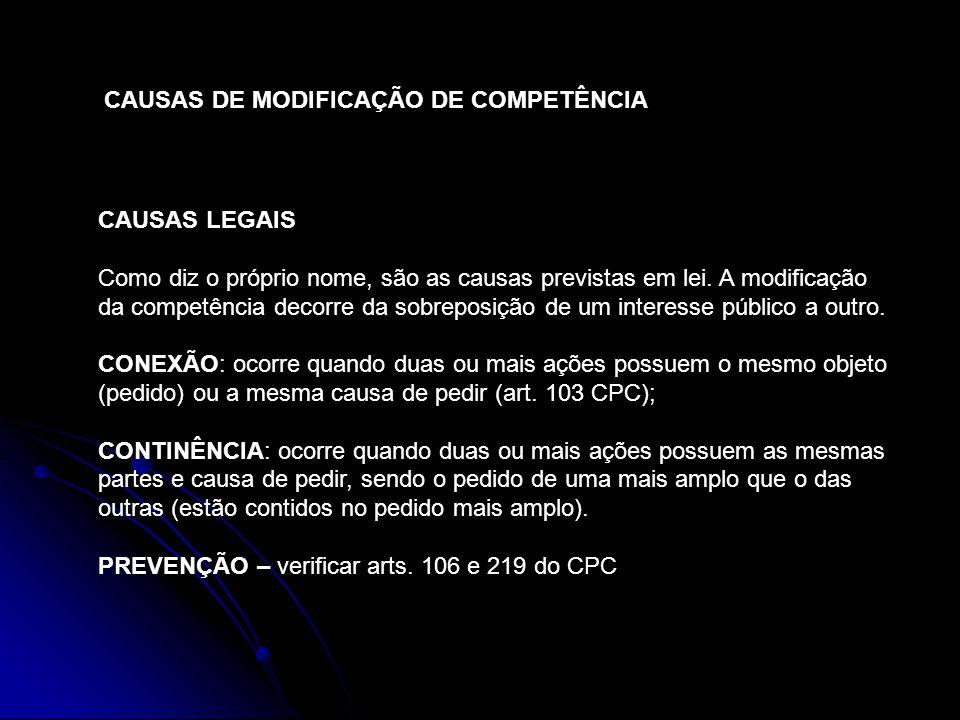 CAUSAS DE MODIFICAÇÃO DE COMPETÊNCIA CAUSAS VOLUNTÁRIAS A modificação da competência decorre da vontade das partes litigantes.
