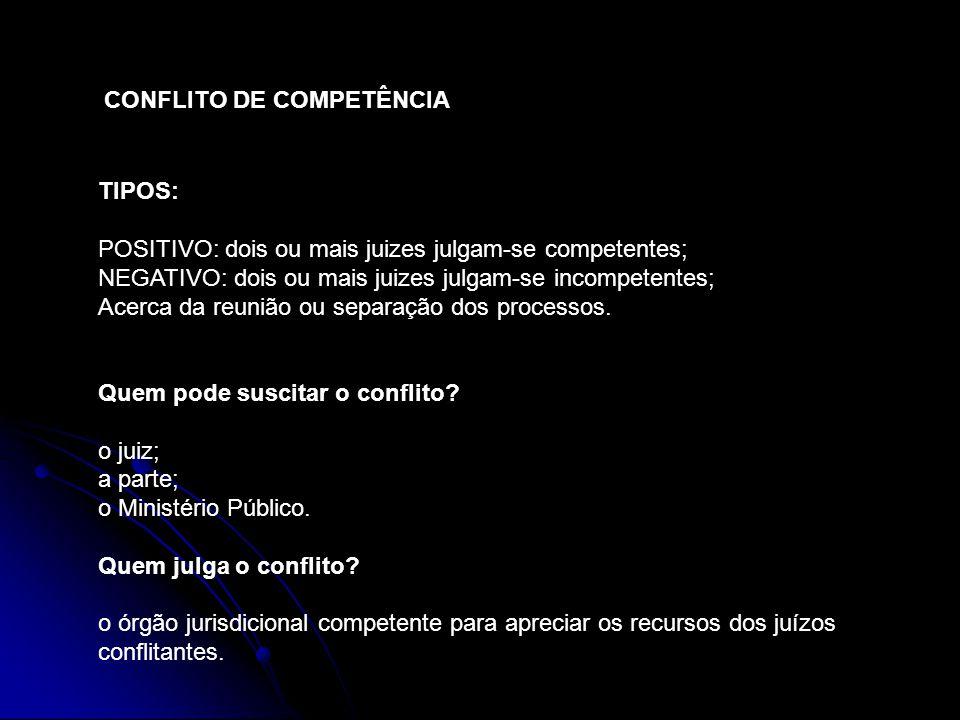 CONFLITO DE COMPETÊNCIA TIPOS: POSITIVO: dois ou mais juizes julgam-se competentes; NEGATIVO: dois ou mais juizes julgam-se incompetentes; Acerca da r