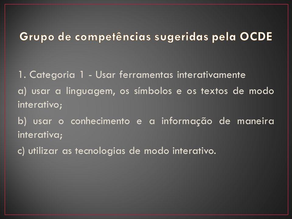 1. Categoria 1 - Usar ferramentas interativamente a) usar a linguagem, os símbolos e os textos de modo interativo; b) usar o conhecimento e a informaç