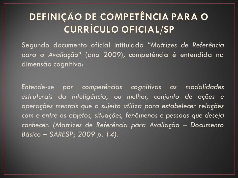 """Segundo documento oficial intitulado """"Matrizes de Referência para a Avaliação"""" (ano 2009), competência é entendida na dimensão cognitiva: Entende-se p"""