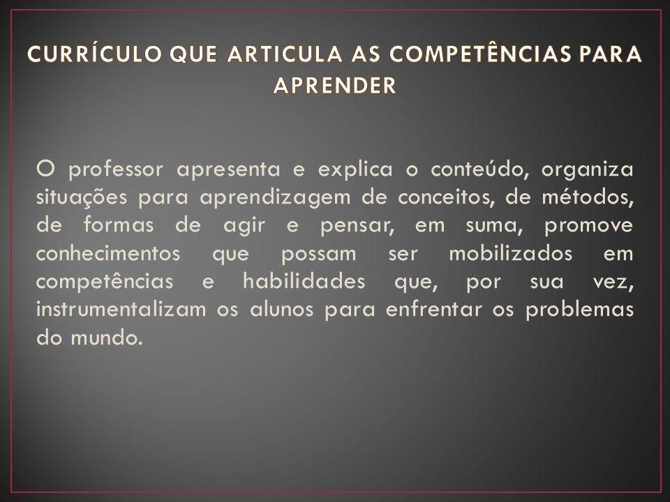 O professor apresenta e explica o conteúdo, organiza situações para aprendizagem de conceitos, de métodos, de formas de agir e pensar, em suma, promov