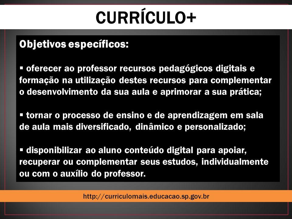 CURRÍCULO+ Objetivos específicos:  oferecer ao professor recursos pedagógicos digitais e formação na utilização destes recursos para complementar o d