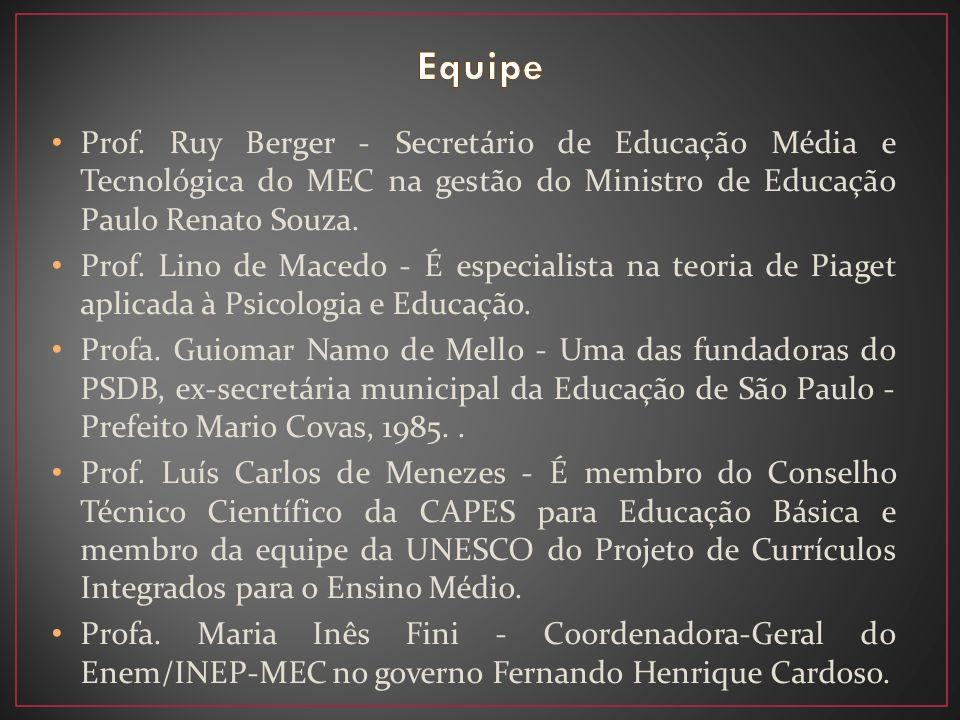 Prof. Ruy Berger - Secretário de Educação Média e Tecnológica do MEC na gestão do Ministro de Educação Paulo Renato Souza. Prof. Lino de Macedo - É es