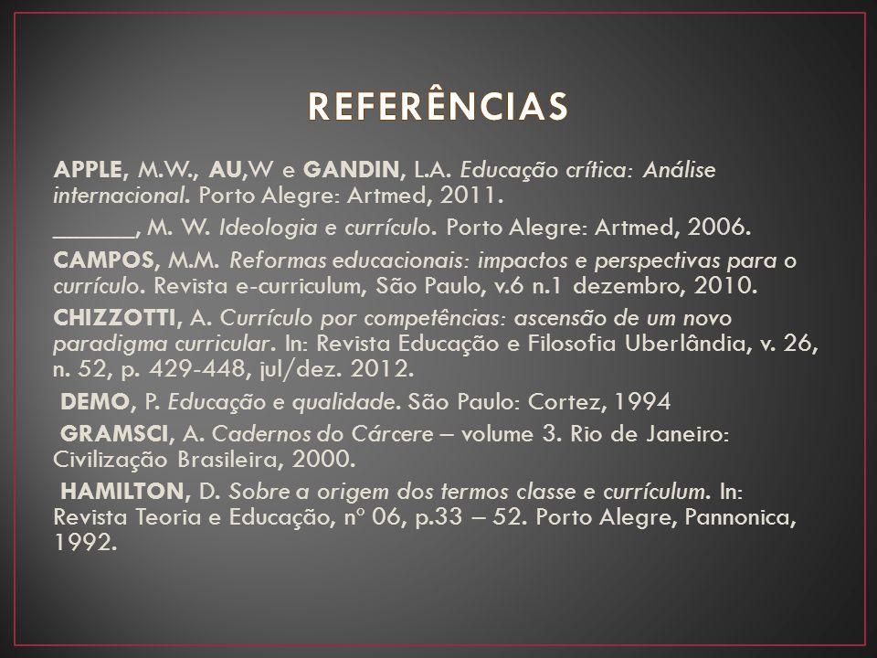 APPLE, M.W., AU,W e GANDIN, L.A. Educação crítica: Análise internacional. Porto Alegre: Artmed, 2011. ______, M. W. Ideologia e currículo. Porto Alegr