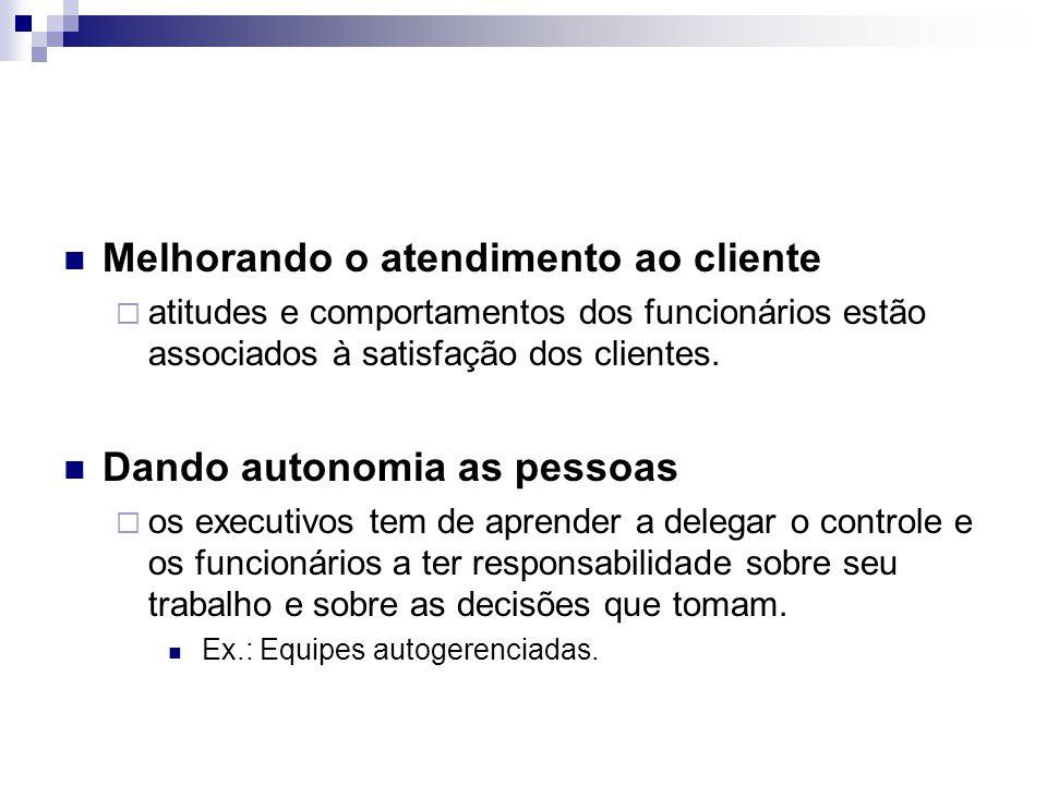 Melhorando o atendimento ao cliente  atitudes e comportamentos dos funcionários estão associados à satisfação dos clientes. Dando autonomia as pessoa