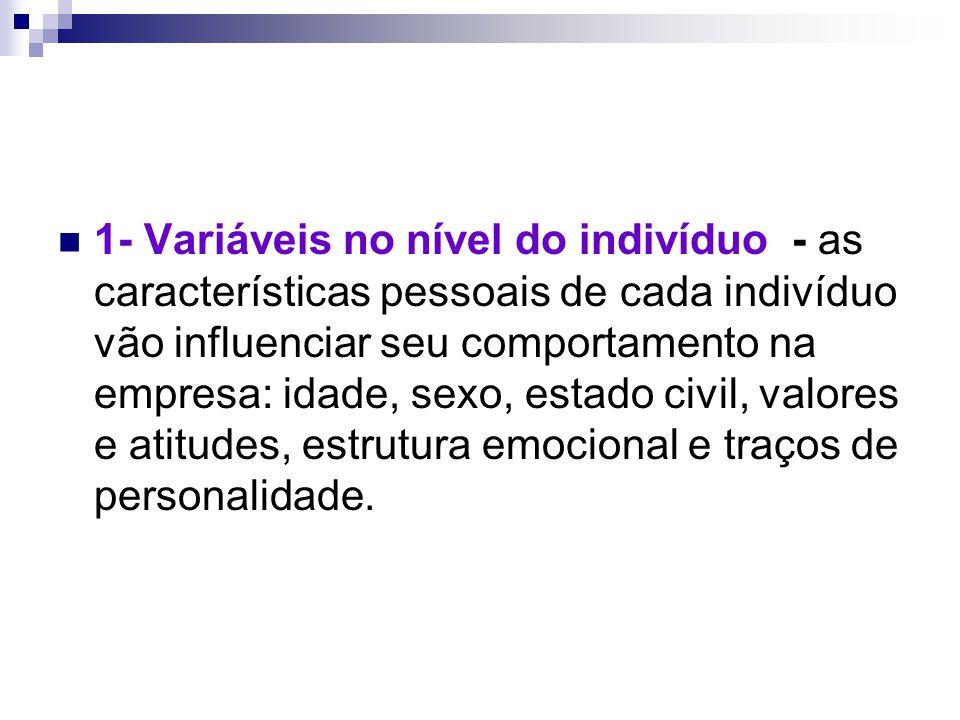 1- Variáveis no nível do indivíduo - as características pessoais de cada indivíduo vão influenciar seu comportamento na empresa: idade, sexo, estado c