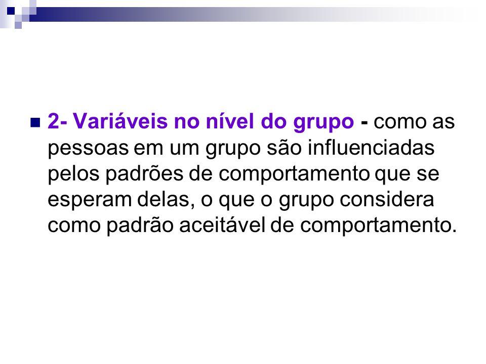 2- Variáveis no nível do grupo - como as pessoas em um grupo são influenciadas pelos padrões de comportamento que se esperam delas, o que o grupo cons