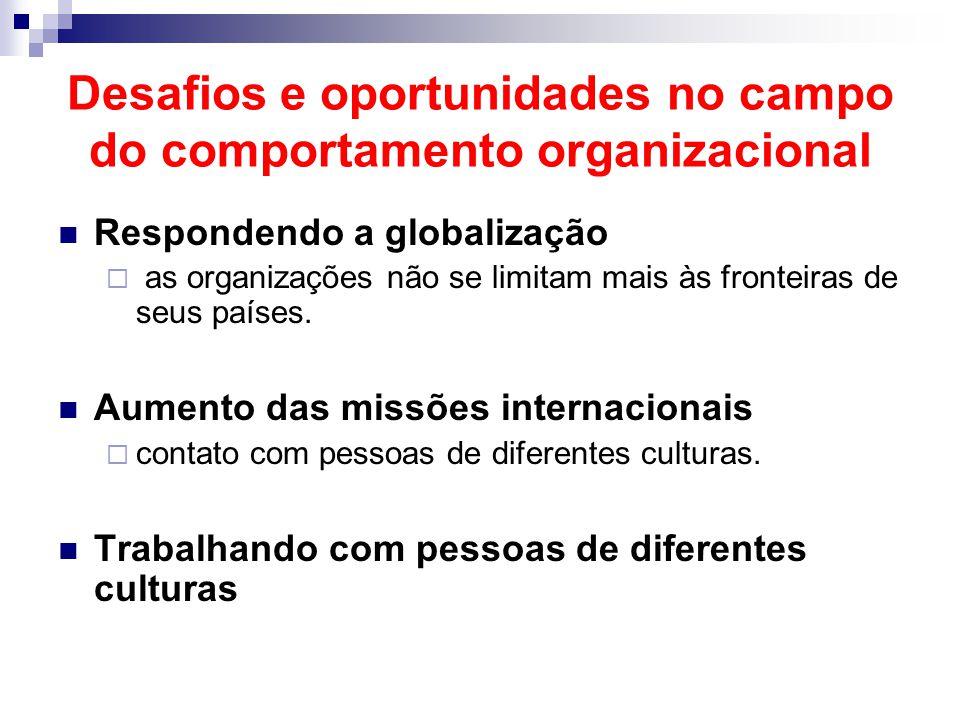 Desafios e oportunidades no campo do comportamento organizacional Respondendo a globalização  as organizações não se limitam mais às fronteiras de se