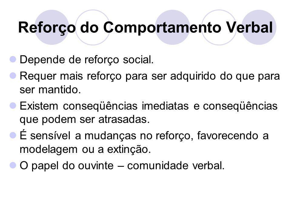 Reforço do Comportamento Verbal Depende de reforço social. Requer mais reforço para ser adquirido do que para ser mantido. Existem conseqüências imedi