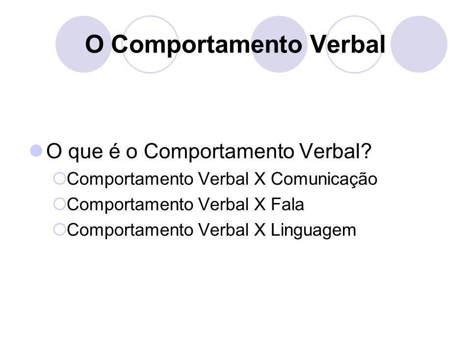 O Comportamento Verbal O que é o Comportamento Verbal? CComportamento Verbal X Comunicação CComportamento Verbal X Fala CComportamento Verbal X