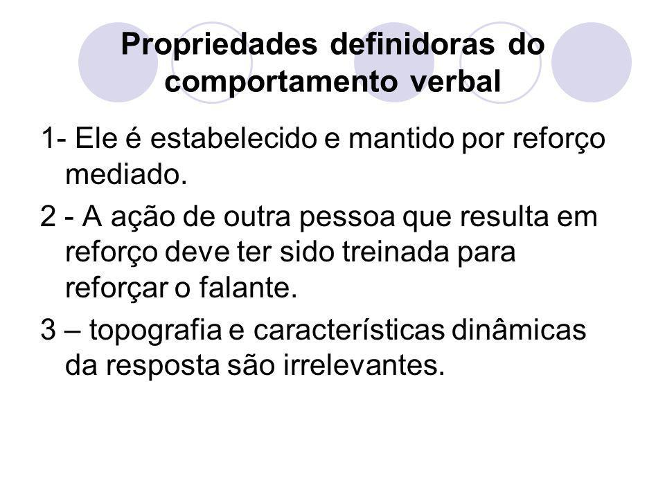 Propriedades definidoras do comportamento verbal 1- Ele é estabelecido e mantido por reforço mediado. 2 - A ação de outra pessoa que resulta em reforç