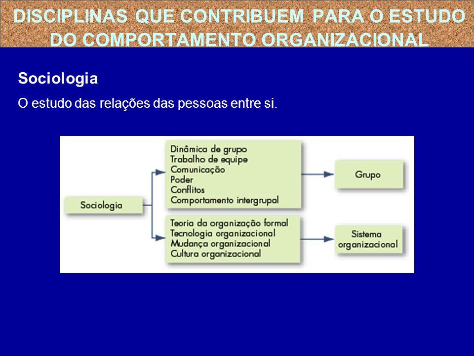 Sociologia O estudo das relações das pessoas entre si. DISCIPLINAS QUE CONTRIBUEM PARA O ESTUDO DO COMPORTAMENTO ORGANIZACIONAL
