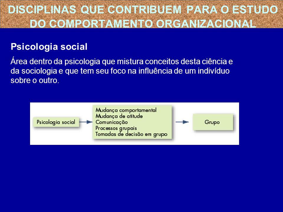 Psicologia social Área dentro da psicologia que mistura conceitos desta ciência e da sociologia e que tem seu foco na influência de um indivíduo sobre