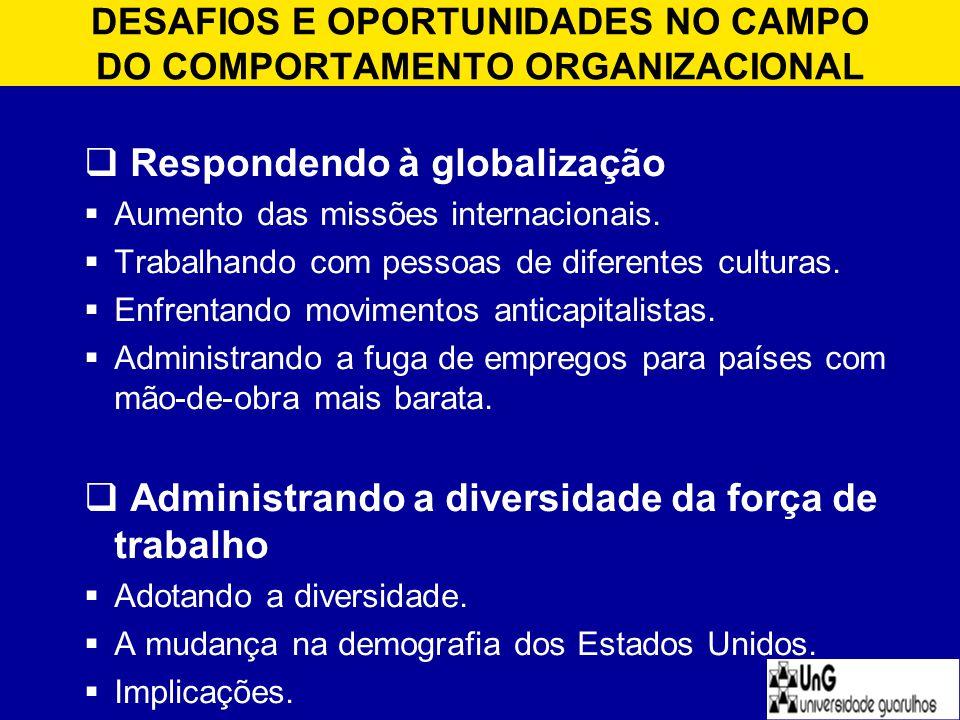 DESAFIOS E OPORTUNIDADES NO CAMPO DO COMPORTAMENTO ORGANIZACIONAL  Respondendo à globalização  Aumento das missões internacionais.  Trabalhando com